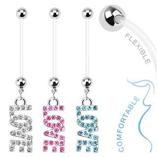 Napakoru 'Love' Dangle Bio Flex Pregnancy Navel Ring