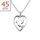 "Hopeariipus + Hopeaketju ""Plain Silver Heart Bird Necklace"""