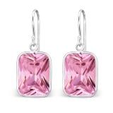 """Hopeiset korvakorut """"Silver Rectangle Earrings with Pink Cubic Zirconia"""""""