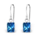 "Hopeiset Korvakorut ""Silver Bagutte Earrings with CZ Topaz London Blue"""