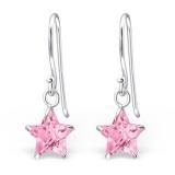 "Hopeiset Korvakorut ""Silver Star Earrings with Pink Cubic Zirconia"""