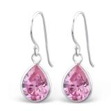 "Hopeiset Korvakorut ""Silver Teardrop Earrings with Pink Zirconia"""