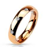 """Kirurginteräs Sormus """"3 CZ Set Classic Dome Rose Gold IP 316L Stainless Steel Rings"""""""