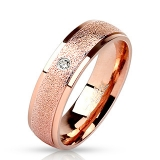 """Kirurginteräs Sormus """"Sanded Center with Clear CZ Rose Gold IP Stainless Steel Ring"""""""