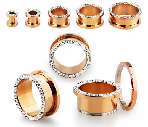 """316L Kirurginteräs Tunneli """"Rose gold PVD plated With Crystal"""""""