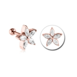 "Rustokoru ""Rose gold pvd surgical steel flower jeweled"""