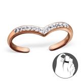 "Hopeinen Säädettävä Varvassormus ""Rosegold Silver Heart Toe Ring with Cubic Zirconia"""