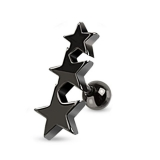 "Rustokoru ""316L Surgical BlackSteel Three Stars Tragus Piercing Barbell"""
