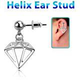"""Rustokoru """"Helix Ear Stud With Diamond"""""""