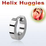 """Rustokoru """"High Polished Steel Round Helix Huggies"""""""