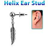 """Rustokoru """"Helix Ear Stud With Feather"""""""