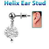 """Rustokoru """"Helix Ear Stud With tree Of Life"""""""