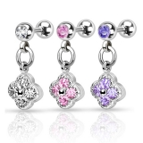"Rustokoru ""Flower with CZ 316L Surgical Steel Tragus Barbell"""