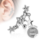 "Rustokoru ""Multi Gemmed Stars with Star Dangle Tragus"", Hinta 2 kpl"