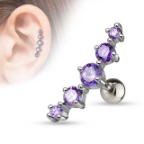 "Rustokoru ""Journey Curve 5 Gems Tragus Purple"""