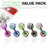 "5 kpl Rustokorupaketti ""Color Tragus Bar With CZ Top"""