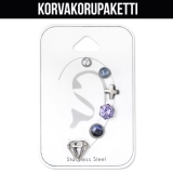 "Rustokorvakoru 6 kpl ""Mixed Set with Cubic Zirconia"""