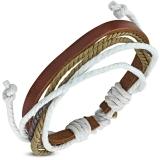 "Nahkaranneke ""Fashion Multi-Strand Wrap Rope Adjustable Brown Leather Bracelet"""
