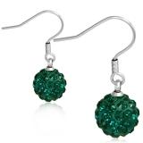 10mm Stainless Steel Shamballa Long Drop Hook Earrings With Emerald Zircon