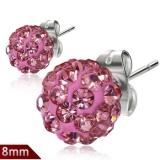 "Kirurginteräs korvakorut ""8 mm Rose Pink Shamballa Stud Earrings"""