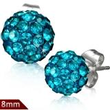 """Kirurginteräs korvakorut """"8 mm Blue Zircon Shamballa Stud Earrings"""""""