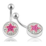 """Napakoru """"Pink Crystal Star Logo Belly Ring"""""""