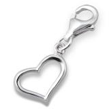 "Hopeinen keräilykoru ""Silver Open Heart Charm With Lobster"""