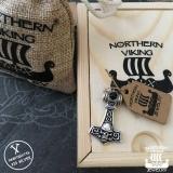 """925-Hopea Thorin Vasara-Riipus, Northern Viking Jewelry """"Onyx Skull Thors Hammer"""""""