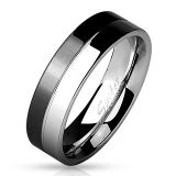 "Kirurginteräs Sormus ""2-Tone Black And Shiny Steel 316L Stainless Steel Band Ring"""