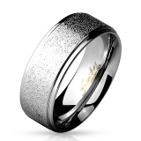"Kirurginteräs Sormus ""Sand Finish Center with Shiny Polished Stainless Steel rings"""
