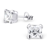 """Hopeiset korvakorut """"Square 6mm Silver Ear Studs with Cubic Zirconia"""""""