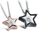 "316L Teräsriipus ""Star Love Couple Pendant With Cz"" + Ketju"
