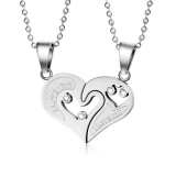 "316L Teräsriipus ""2-Part Affirmation-Love Heart Jigsaw Couple Pendant"" + Ketju"