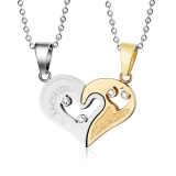 "316L Teräsriipus ""2-tone 2-Part I Love You Heart Jigsaw Couple Pendant"" + Ketju"