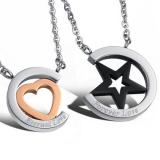"316L Teräsriipus ""Star/Heart Forever Love Couple Pendant"" + Ketju"