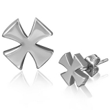 Stainless Steel Maltese Cross Stud Earrings