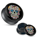 Sugar Skull Black Acrylic Stash Screw Fit Plug