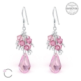 "Hopeiset korvakorut ""La Crystale Pink Chandelier Earrings with Swarovski®"""
