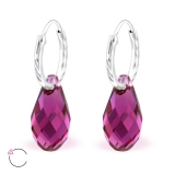 "Hopeiset korvakorut ""La Crystale Swarovski® Silver Oval Fuchsia Earrings"""