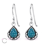 "Hopeiset korvakorut ""La Crystale Swarovski® Oval Drop Indicolite Earrings"""