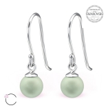 "Hopeiset korvakorut ""La Crystale Swarovski® Green Pearl 6mm Silver Earrings"""