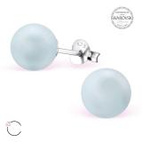 """Hopeiset korvakorut """"La Crystale Swarovski® Blue Pearl 8mm Silver Ear Studs"""""""
