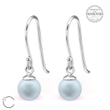 "Hopeiset korvakorut ""La Crystale Swarovski® Blue Pearl 6mm Silver Earrings"""