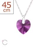 "Swarovski®-Kaulakoru ""Silver Heart Necklace With Amethyst Crystals"""