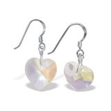 "Hopeiset korvakorut ""Silver dangly Crystal hearts Handmade Earrings"""