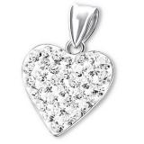 """Hopeinen Sydänriipus """"Silver Heart Pendant with Crystal"""""""