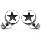 8mm Stainless Steel 2-tone Star Circle Stud Earrings