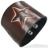 "Nahkaranneke ""Genuine Brown Leather Star Snap Wristband Bracelet"""