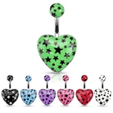 Heart with Multi Star Print Acrylic 316L Surgical Steel Navel Ring