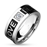 "Kirurginteräs Sormus ""Two Tone 'Love Devotion' Engraved Black IP Couple Ring"""